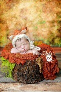 newborn baby wearing fox hat