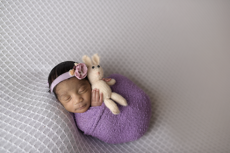nyc newborn photographer bunny snug as a bug sleeping baby girl