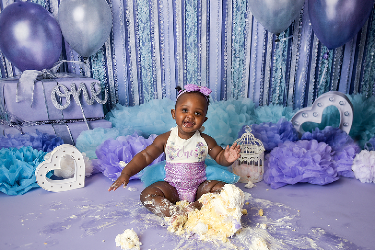 purple girls cake smash nyc photographer