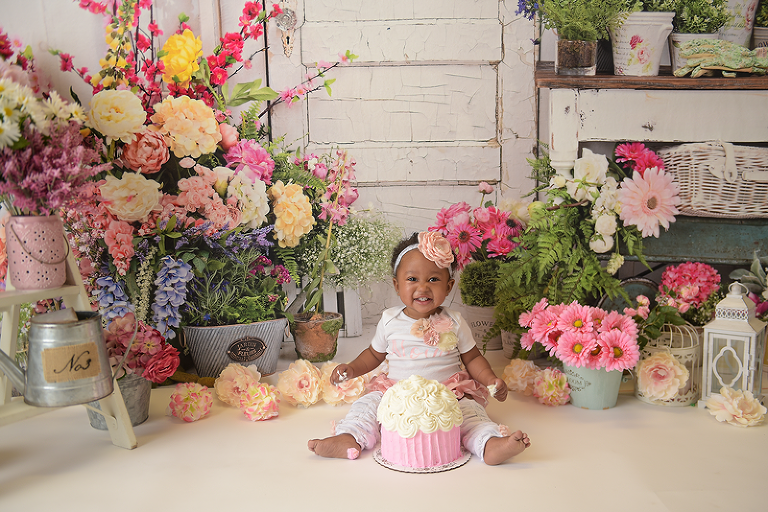 first birthday nyc child photographer flower garden