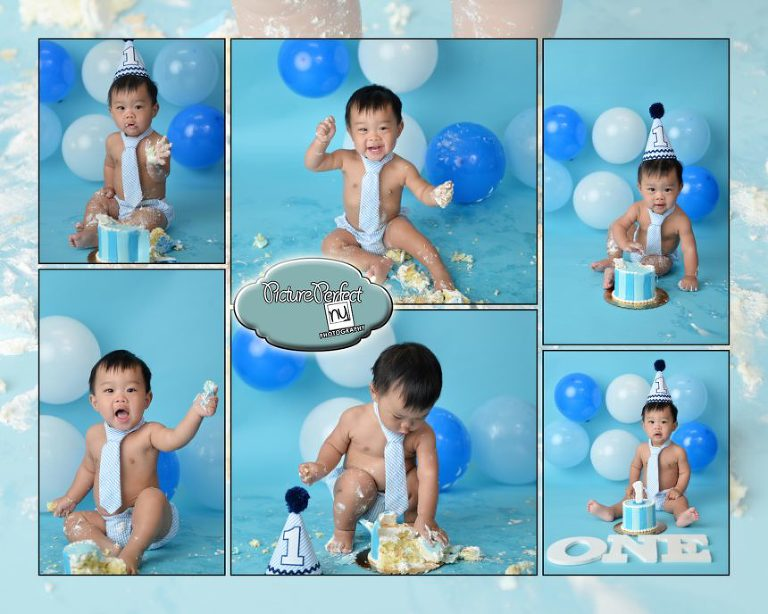 cake smash photography blue boy