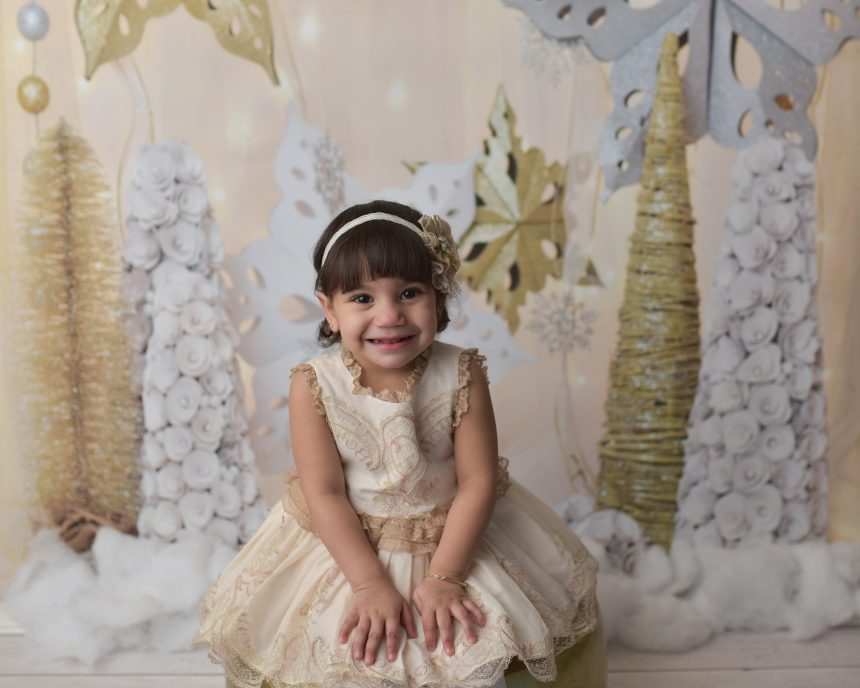 How gorgeous! This little girl poses in her Christmas dress in front of Winter Wonderland.