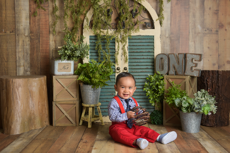 nyc first birthday photographer Rustic Garden Boy Theme
