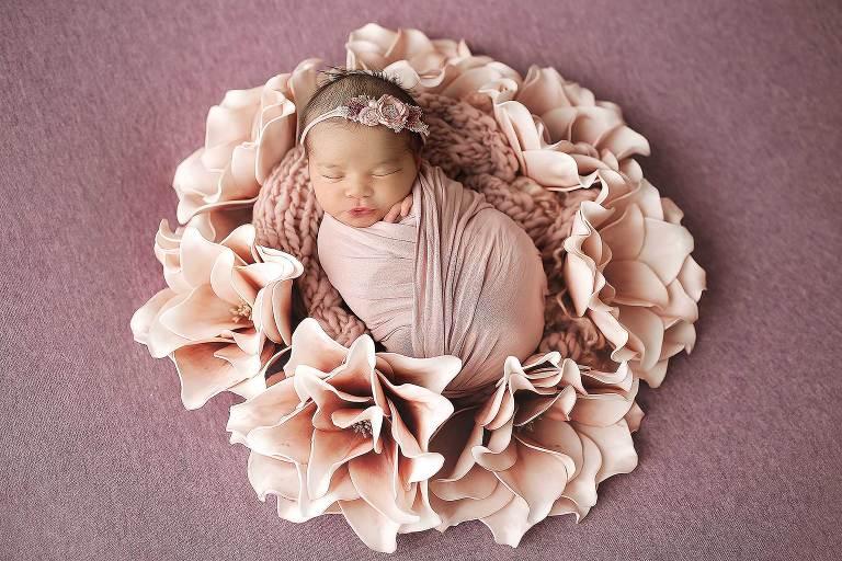 Newborn Girl NYC Photographer Floral wreath