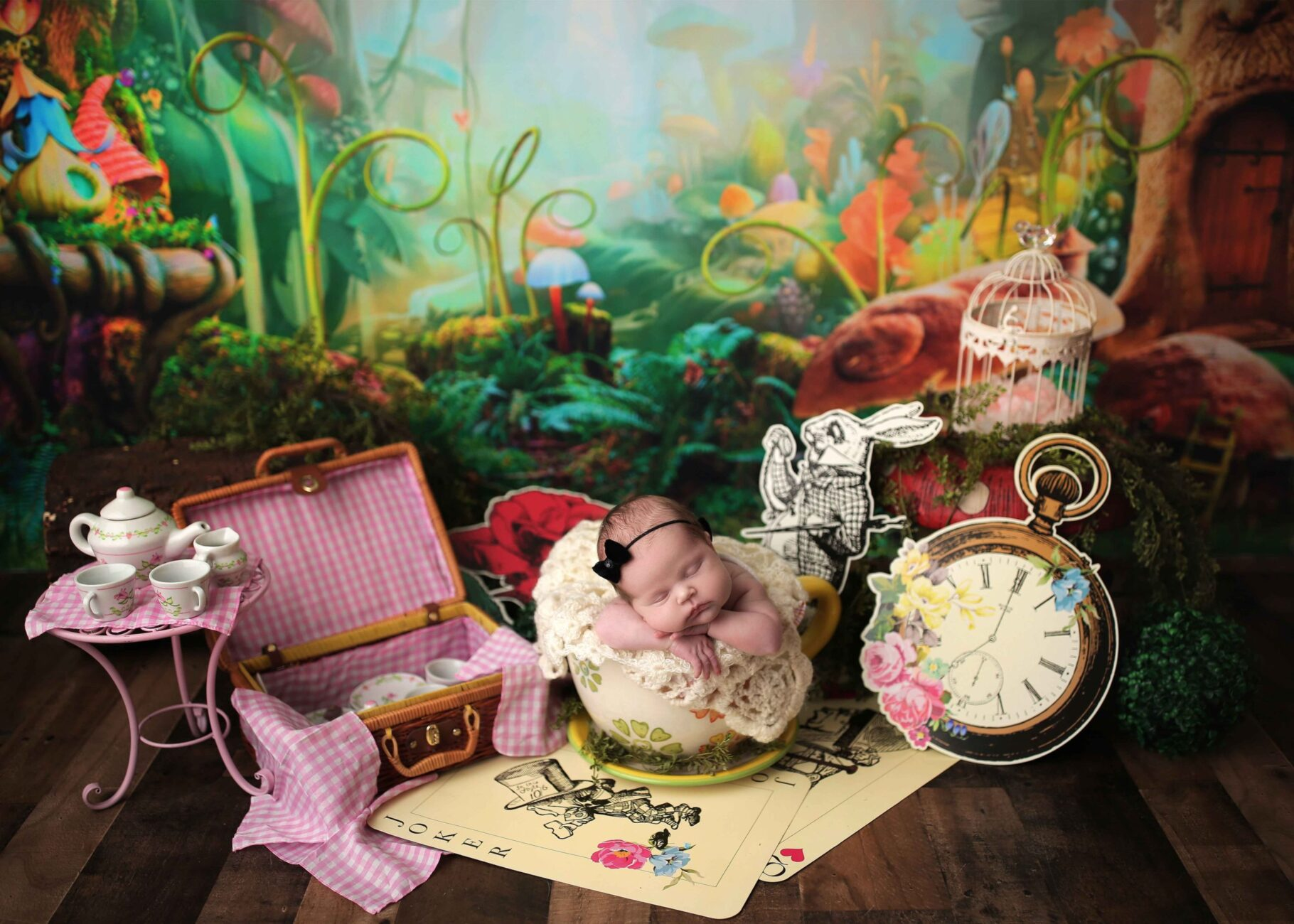 newborn session for girl themed alice's adventures in the wonderland